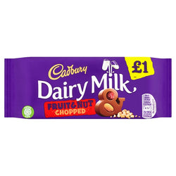 Cadbury Dairy Milk Fruit and Nut Chopped £1 Chocolate Bar 95g