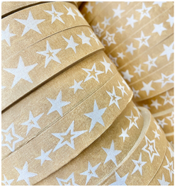 Stars Self Adhesive Brown Paper Tape