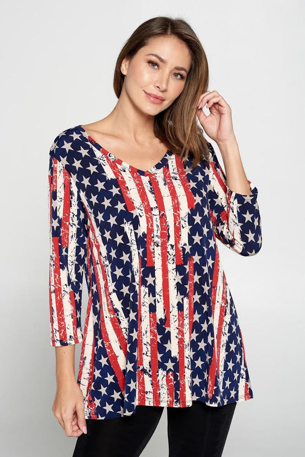 Designer V-neck Patriotic 3/4 Sleeve Top