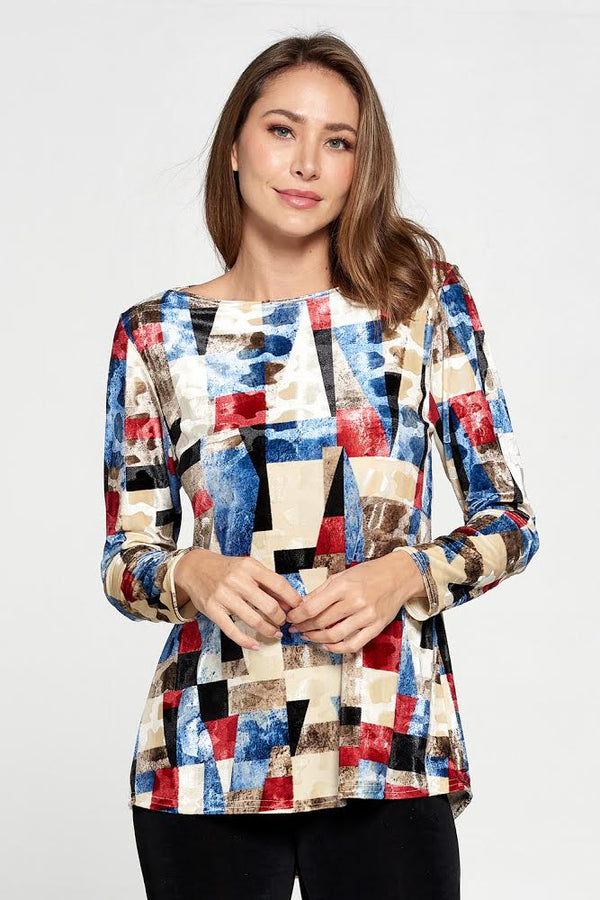 Designer Color Block High Low Long Sleeve Top