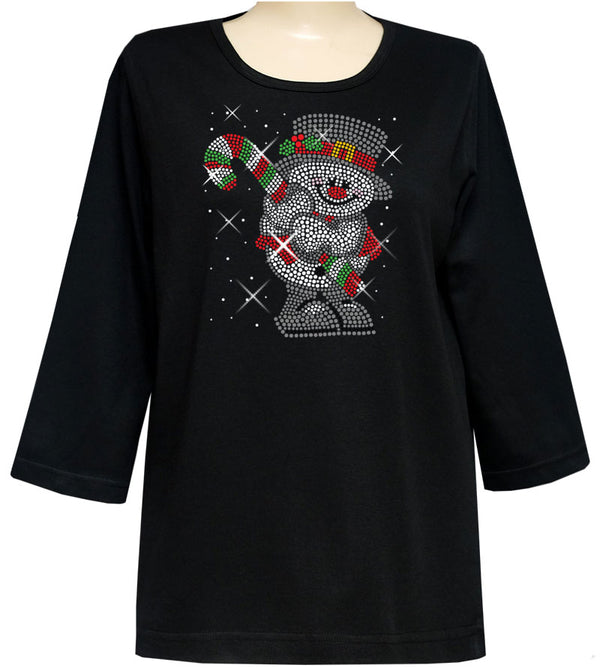 FROSTY RHINESTONE 3/4 SLEEVE DESIGNER TOP- BLACK