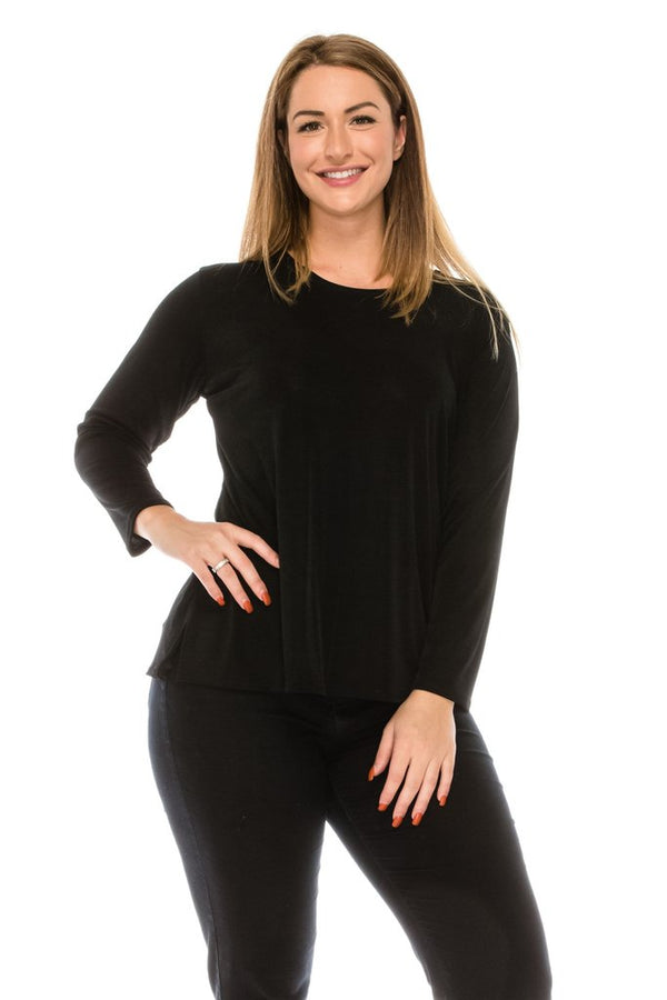 Slinky Long Sleeve Top-BLACK