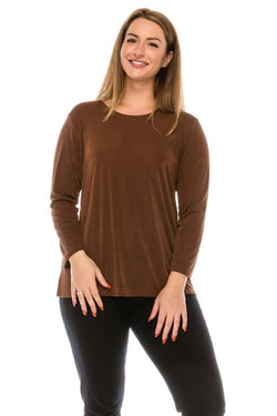 Slinky Long Sleeve Top-BROWN