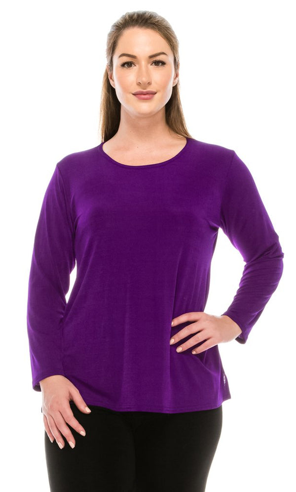 Slinky Long Sleeve Top-PURPLE