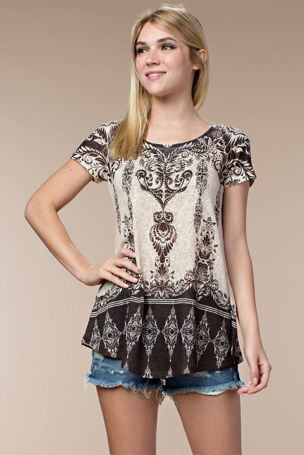 Designer Short Sleeve Top W/ Stones
