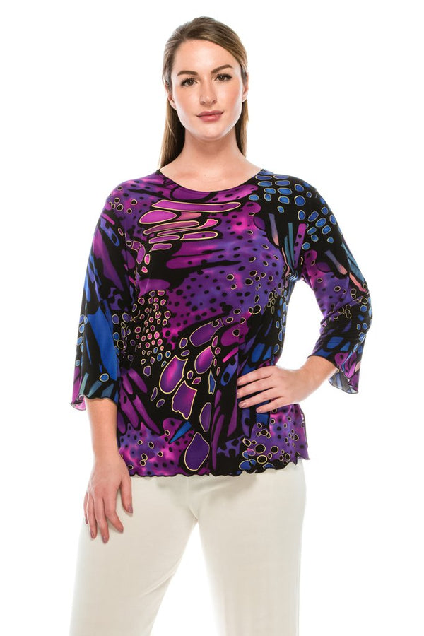 3/4 Sleeve Slinky Missy Top-PURPLE
