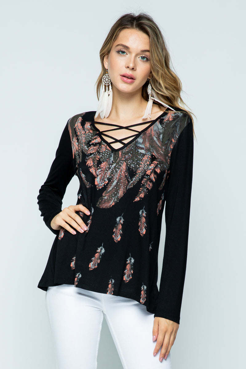 Designer Feather Print Long Sleeve Top