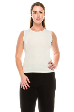 Slinky Wrinkle-Free Tank Top-WHITE