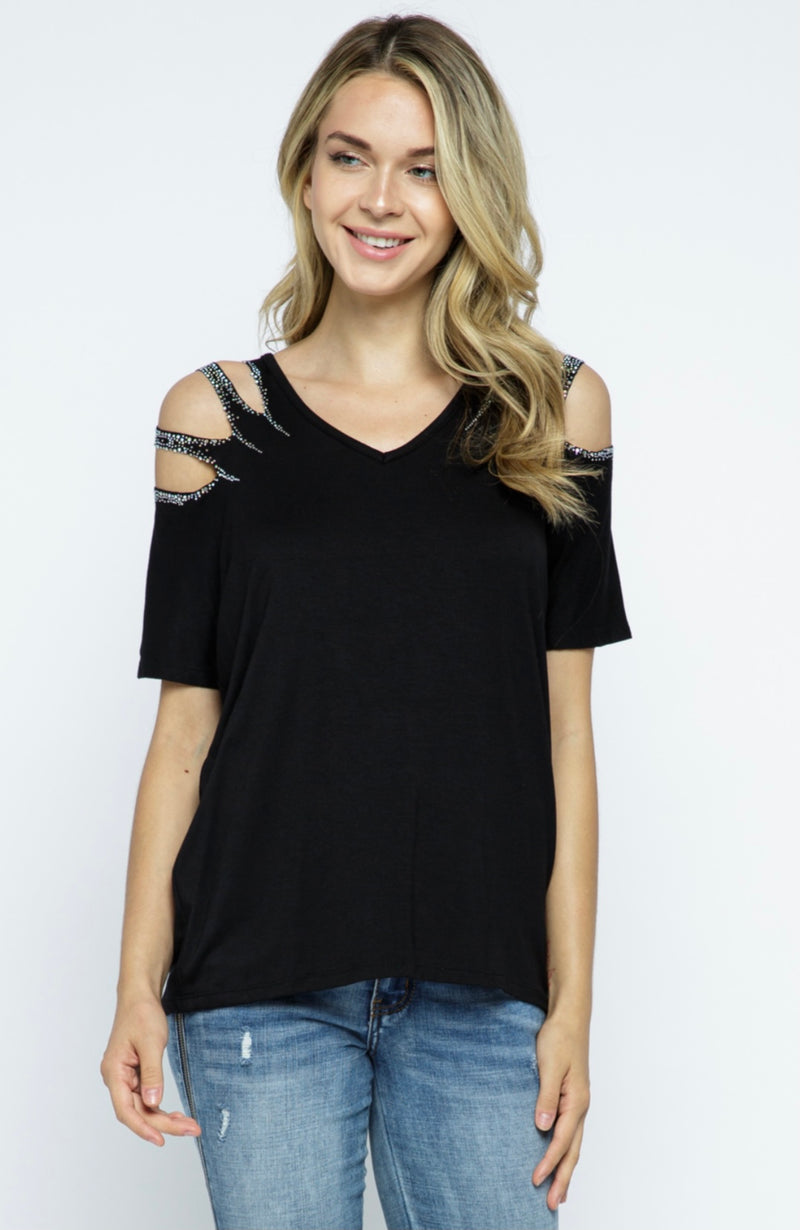 Short Sleeve Top with Laser Cut and Stone on Shoulders