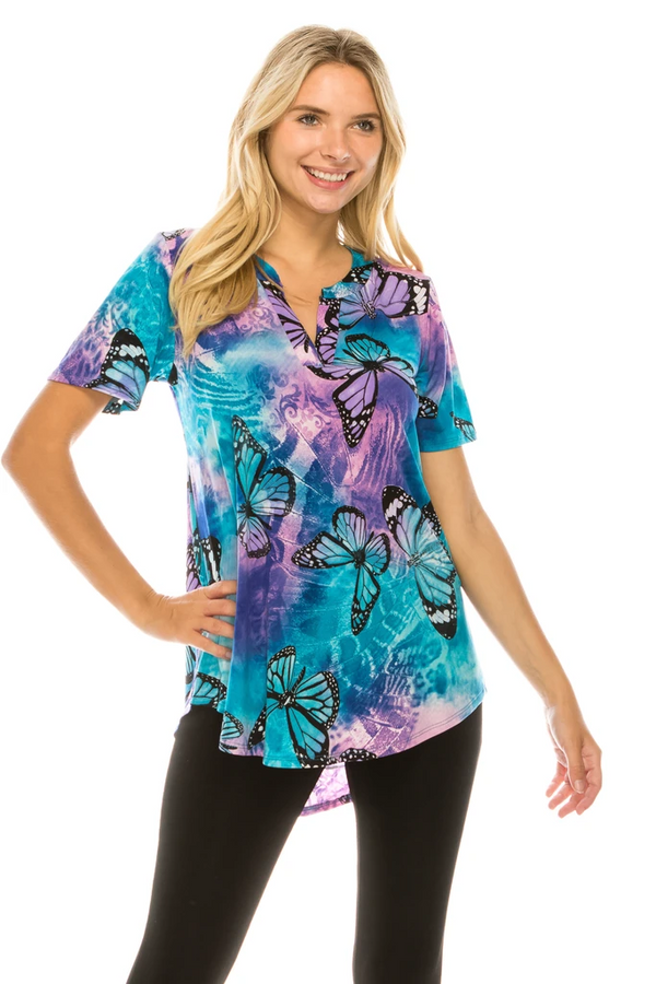 Designer Notch Neck Short Sleeve Top W/ Butterfly Print