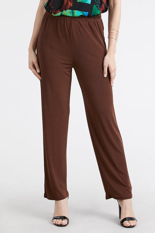 Slinky Wrinkle-Free Pants- Brown