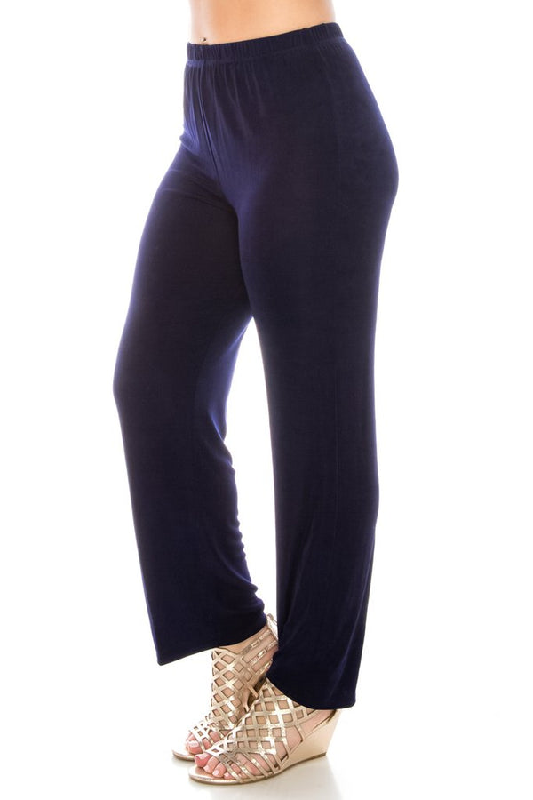 Slinky Wrinkle-Free Pants- Navy
