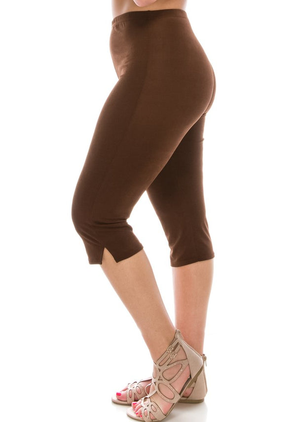 Slinky Wrinkle-Free Capri Pants-Brown