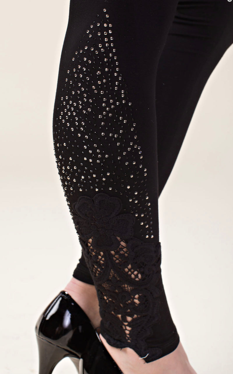 Designer Legging with Lace and Stones