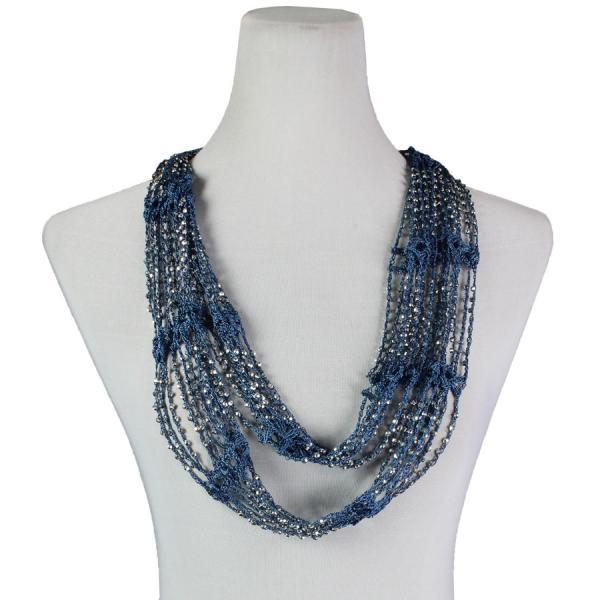Beaded Infinity Scarf- Denim with Silver Beads