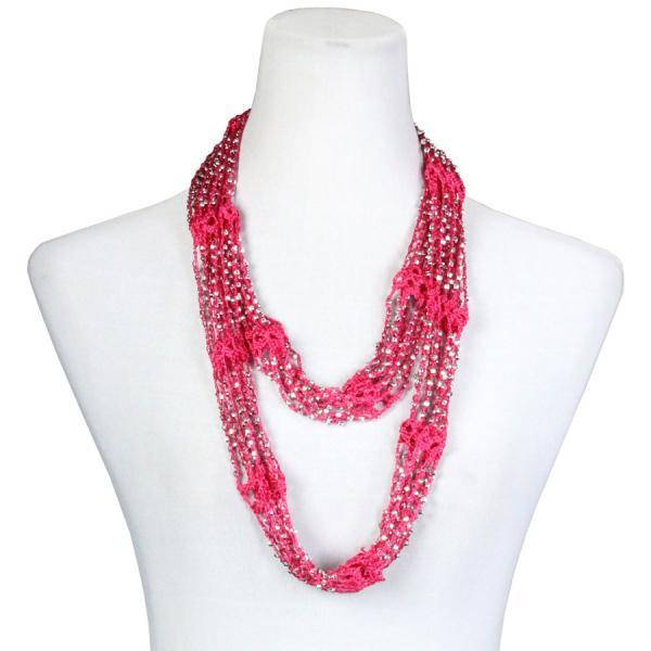 Beaded Infinity Scarf- Fuchsia with Silver Beads