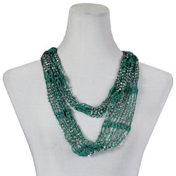 Beaded Infinity Scarf- Sea Green with Silver Beads