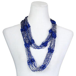 Beaded Infinity Scarf- Royal Blue with Silver Beads