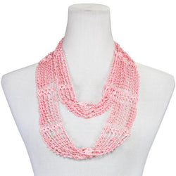 Beaded Infinity Scarf- Light Pink