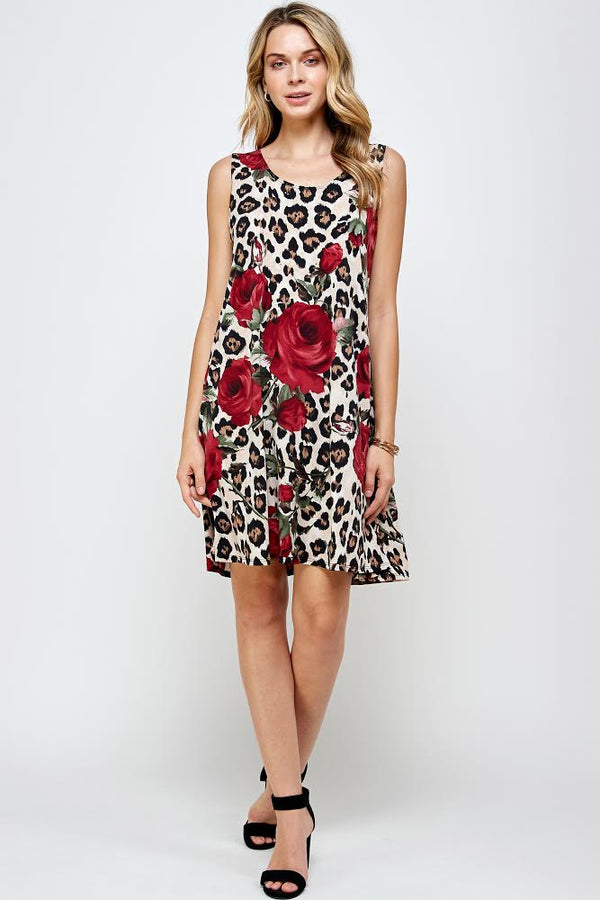 Designer Missy Sleeveless Short Dress Cheetah Rose