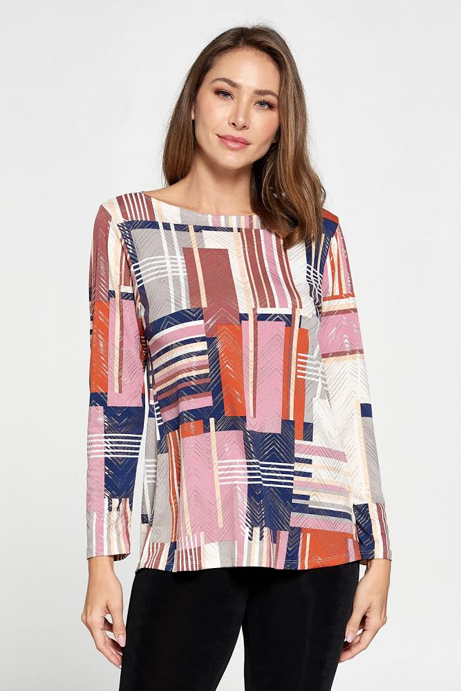 Designer Cross-Pattern High Low Long Sleeve Top