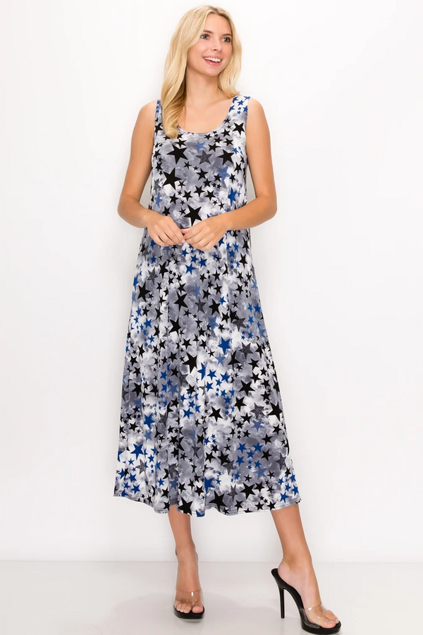 Designer Sleeveless Missy Dress W/ Star Print