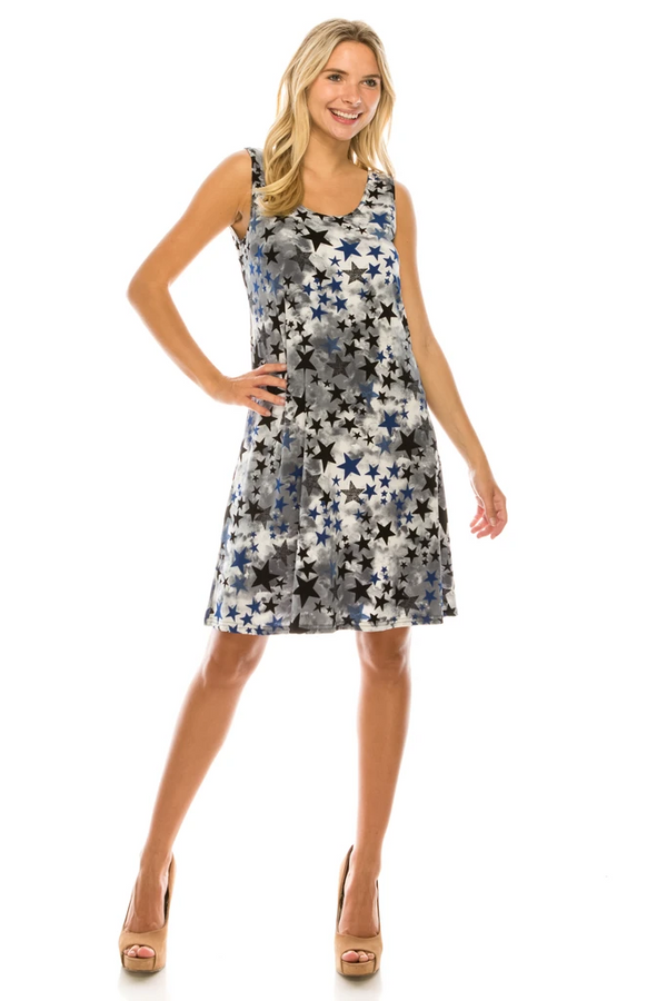Designer Sleeveless Missy Short Dress W/ Star Print