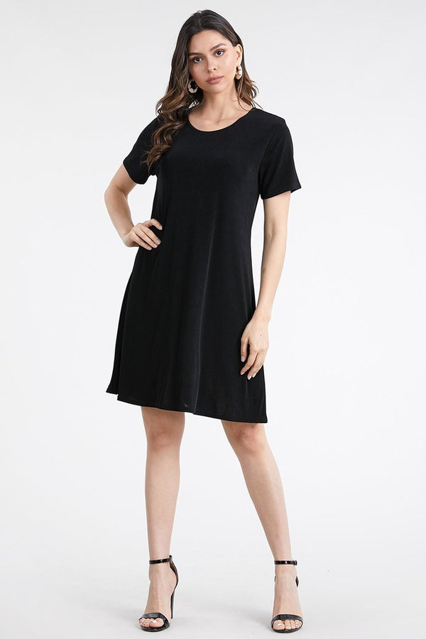 Solid Designer Short Sleeve Missy Dress-BLACK