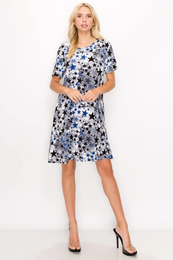 Designer Short Sleeve Missy Short Dress W/ Star Print