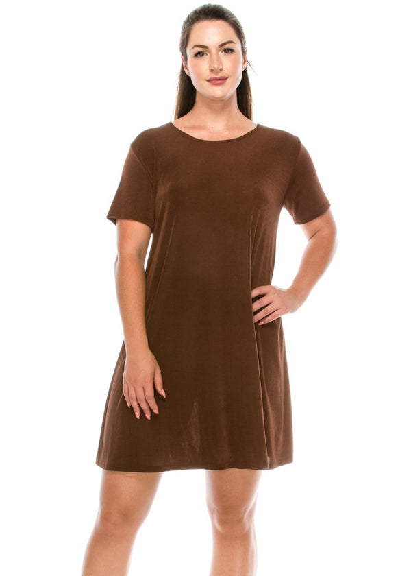 Solid Designer Short Sleeve Missy Dress-BROWN
