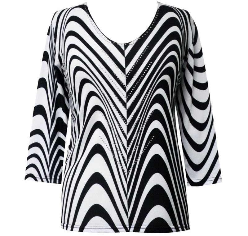 Designer Black and White 3/4 Sleeve Top
