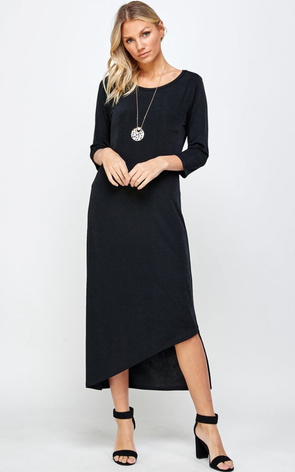 Black Designer 3/4 Sleeve Missy Full Length Dress