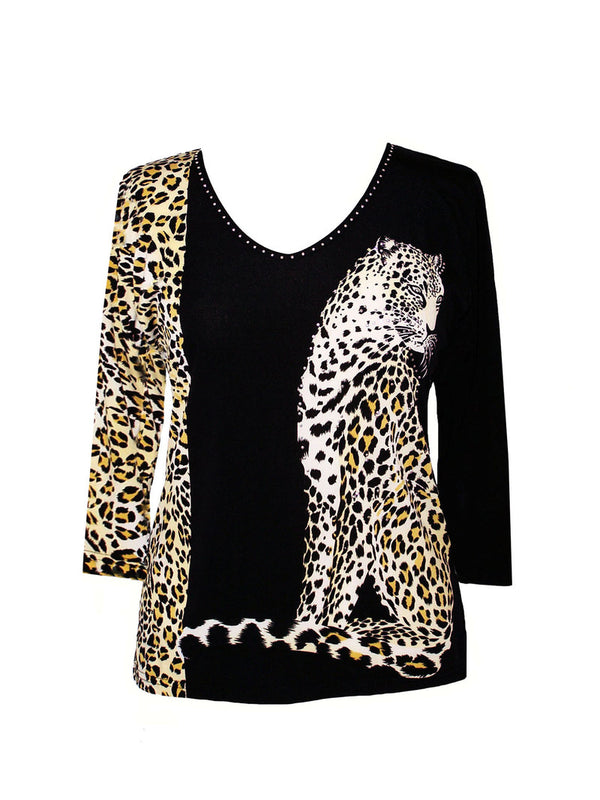 3/4 Sleeve Cheetah Print Top W/ Stones