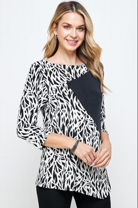 3/4 Sleeve Two Toned Slinky Missy Top-BLACK & WHITE