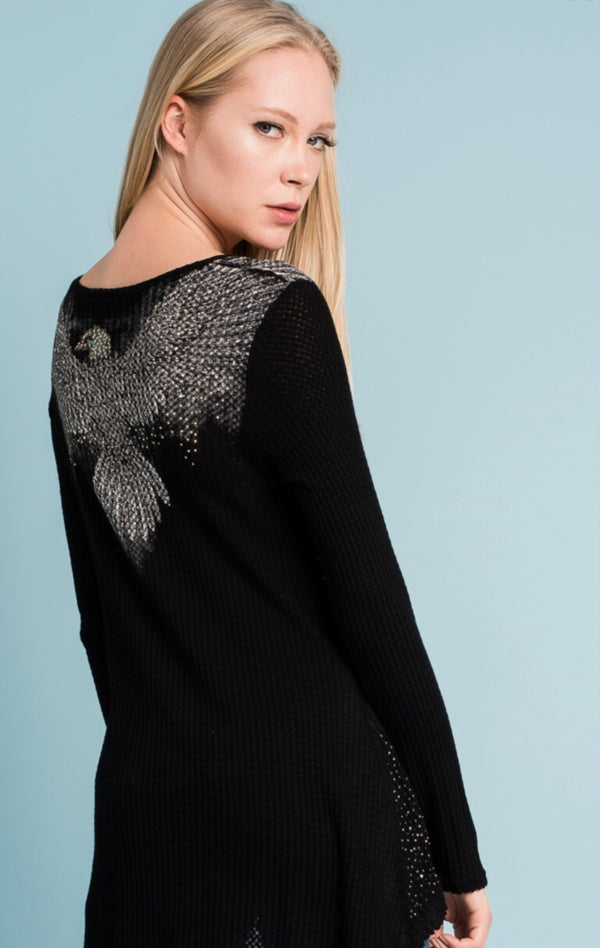 Long Sleeve Bling Top with Wings