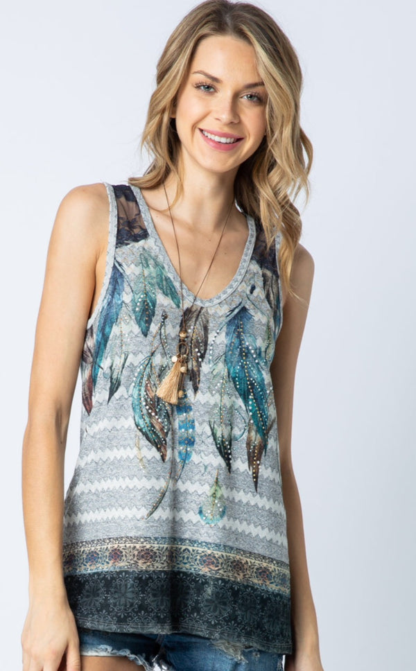 Designer Rhinestone and Lace Tank Top