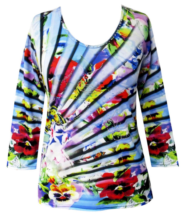 Multi-Color 3/4 Sleeve Top