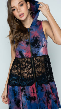 Tie Dye Hoodie Vest with Lace