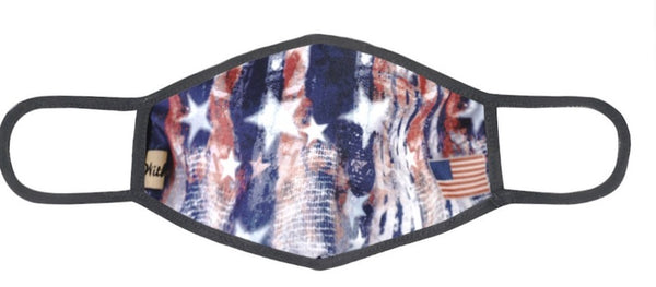 DESIGNER PATRIOTIC FACE MASK- RED,WHITE, AND BLUE FADE