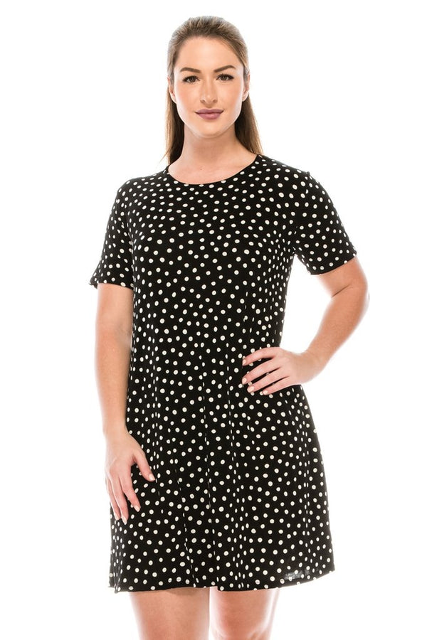 Designer Short Sleeve Missy Dress- POLKA DOTS