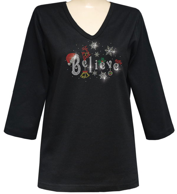 BELIEVE HOLIDAY RHINESTONE 3/4 SLEEVE DESIGNER TOP