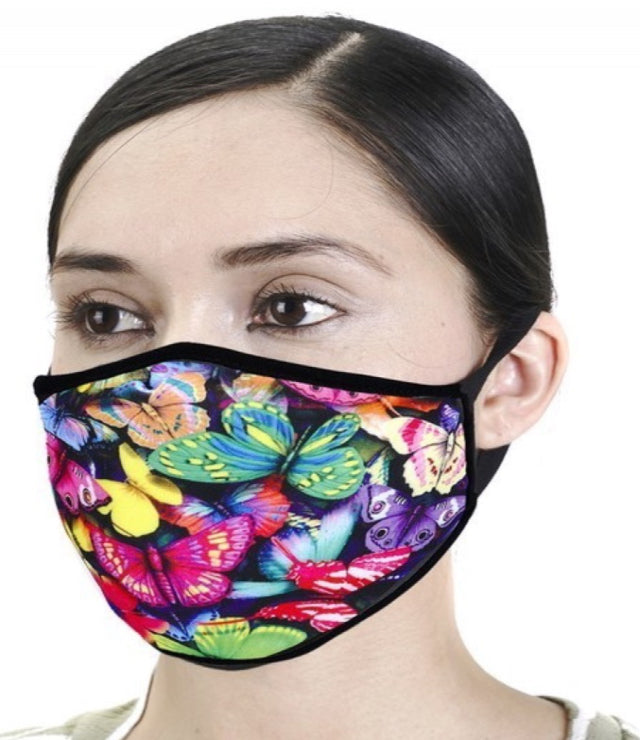 DESIGNER PRINT FACE MASK- COLORFUL BUTTERFLIES