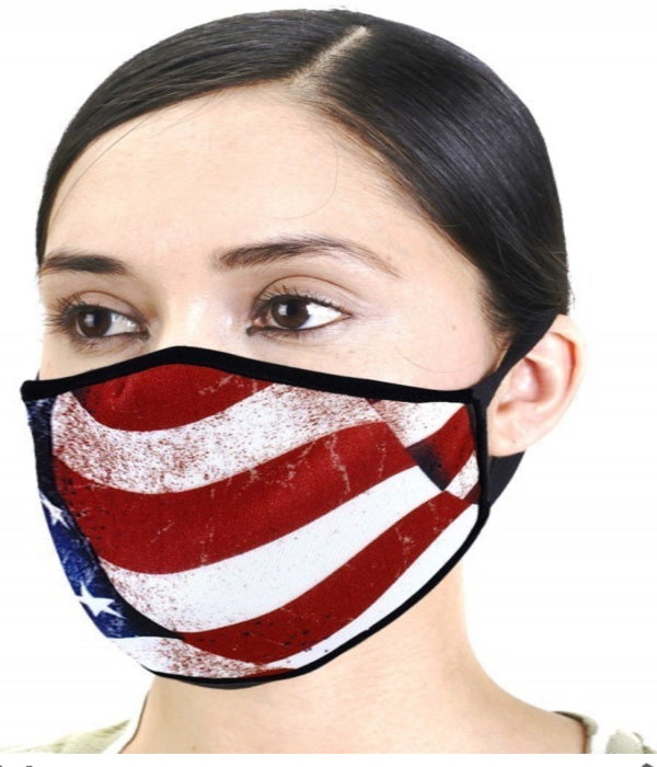DESIGNER PRINT UNI-SEX PATRIOTIC FLAG MASK
