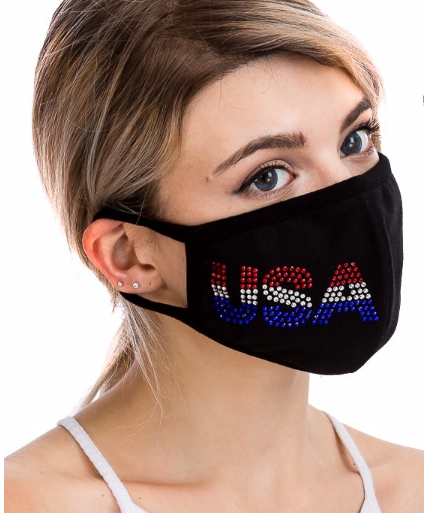 Bling USA Rhinestone Mask on Black