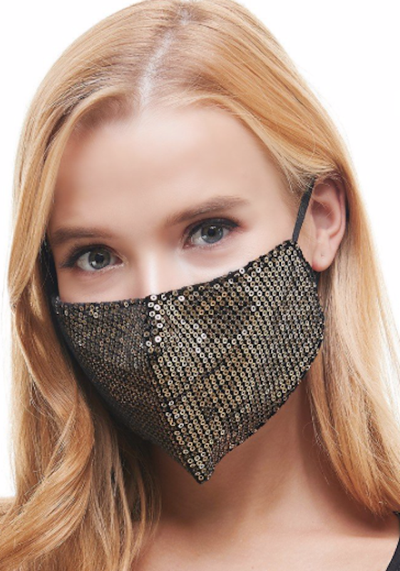 Designer Sequin Mask- Gold