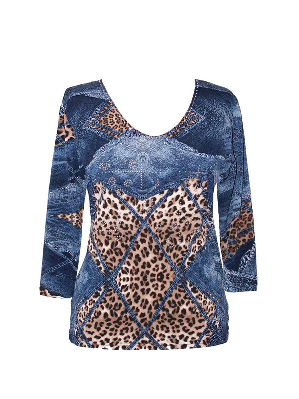 3/4 Sleeve Denim Cheetah Print Top