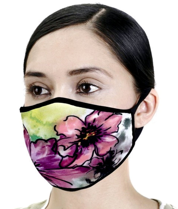 Designer Print Face Mask- Floral Watercolor Art