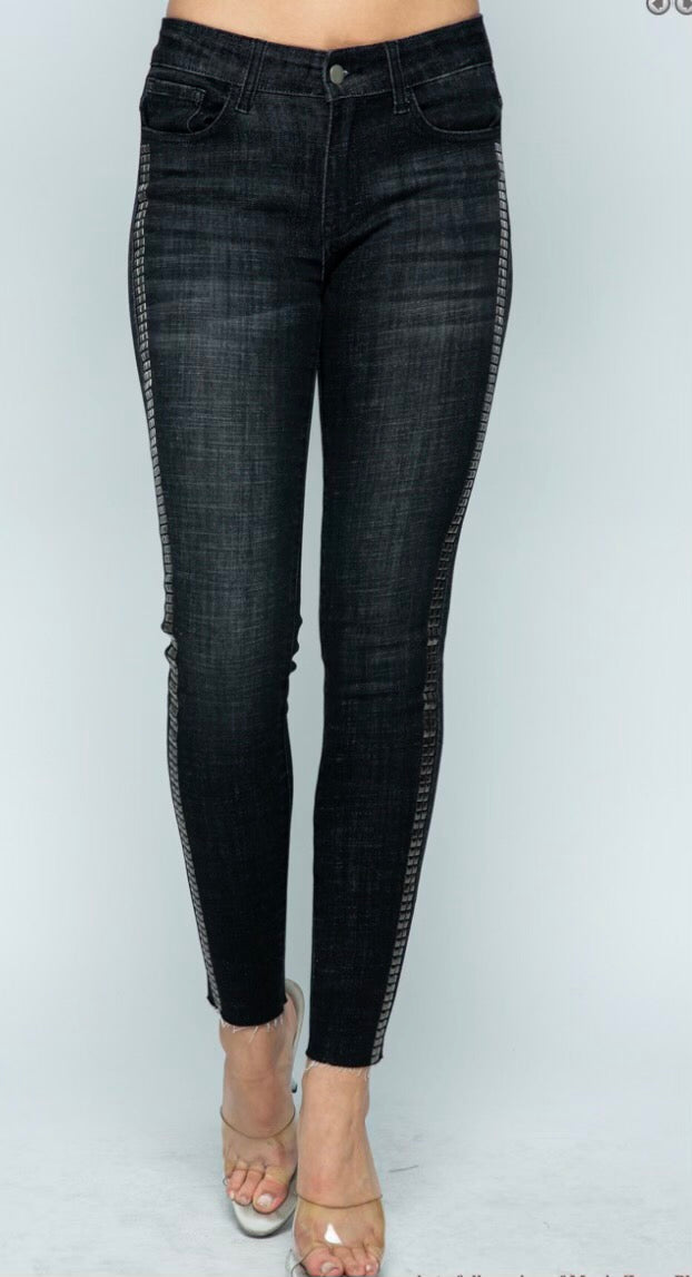 Black Denim Jeans w/ Studs