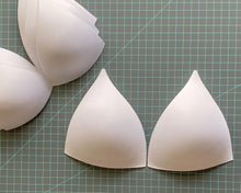 Load image into Gallery viewer, SOFT Molded Bra Cups, Tall Triangle Push Up (White)