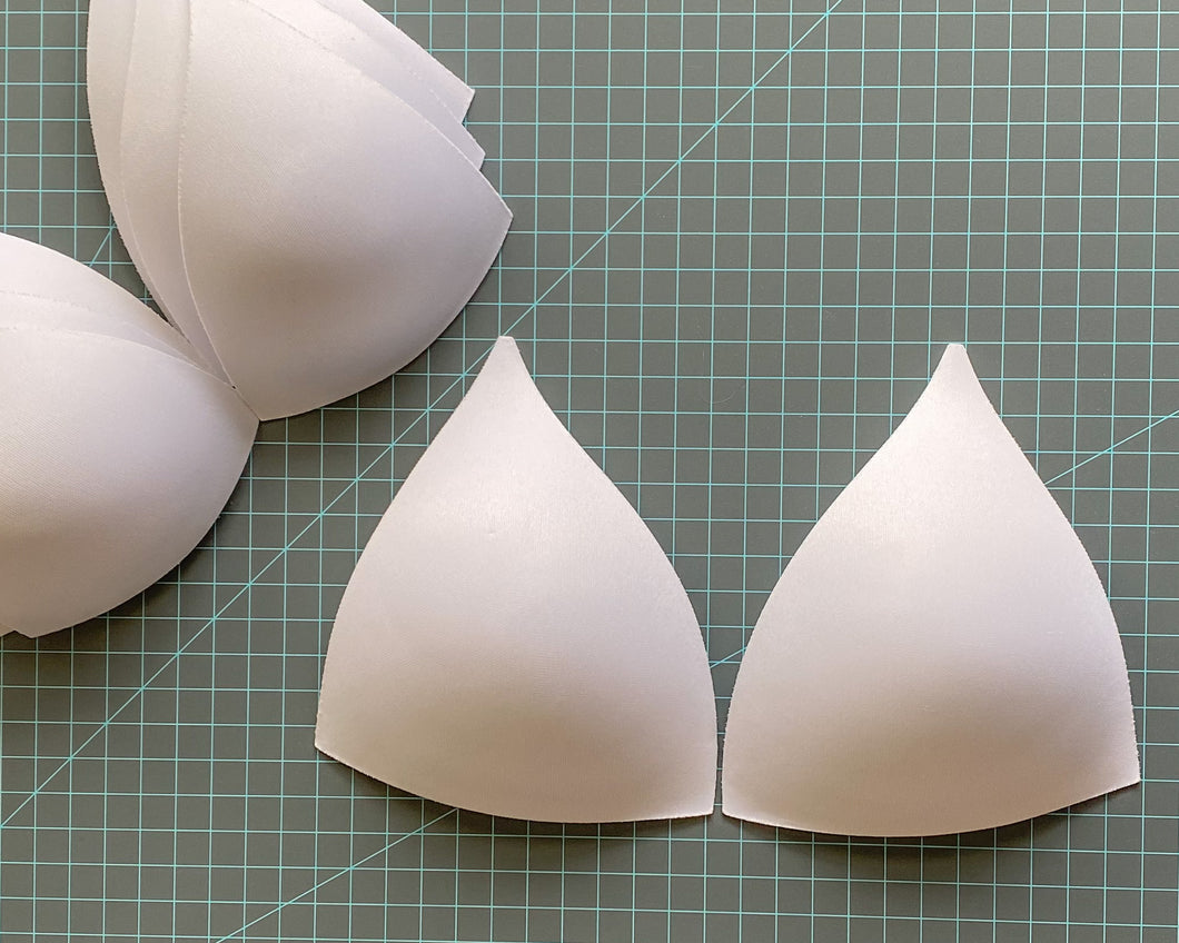 SOFT Molded Bra Cups, Tall Triangle Push Up (White)
